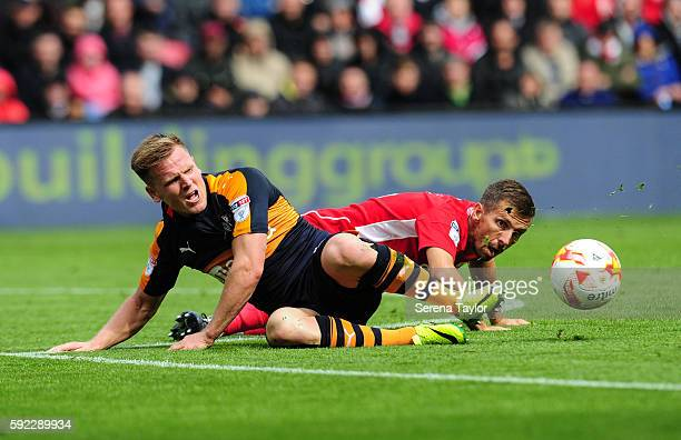 Matt Ritchie of Newcastle United is fouled by Gary O'Neil of Bristol City during the Sky Bet Championship Match between Bristol City and Newcastle...