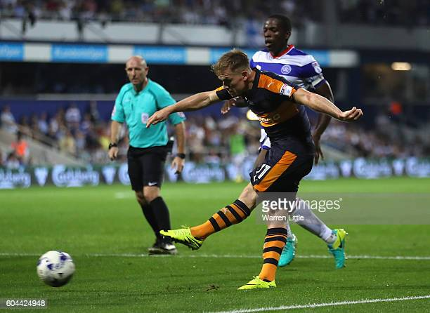 Matt Ritchie of Newcastle United shoots on goal during the Sky Bet Championship match between Queens Park Rangers and Newcastle United at Loftus Road...