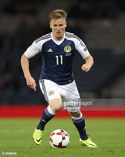 Matt Ritchie of Scotland controls the ball during the FIFA 2018 World Cup Qualifier between Scotland and Lithuania at Hampden Park on October 8 2016...