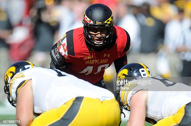 Matt Robinson of the Maryland Terrapins lines up against the Iowa Hawkeyes at Byrd Stadium on October 18 2014 in College Park Maryland