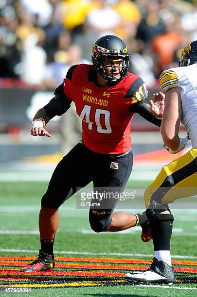 Matt Robinson of the Maryland Terrapins rushes off the line against the Iowa Hawkeyes at Byrd Stadium on October 18 2014 in College Park Maryland