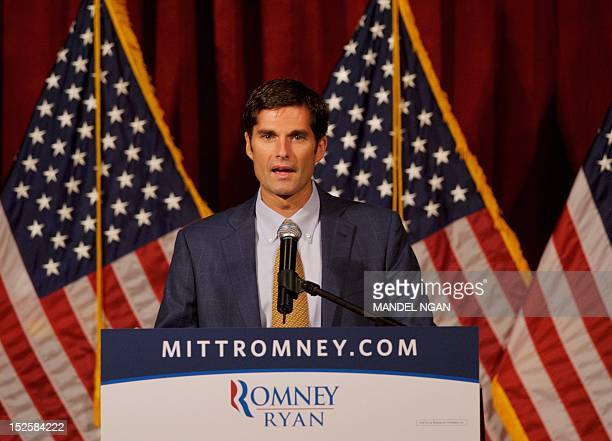 Matt Romney introduces his father Republican presidential candidate Mitt Romney at a fundraiser at the Grand Del Mar Court resort September 22 2012...
