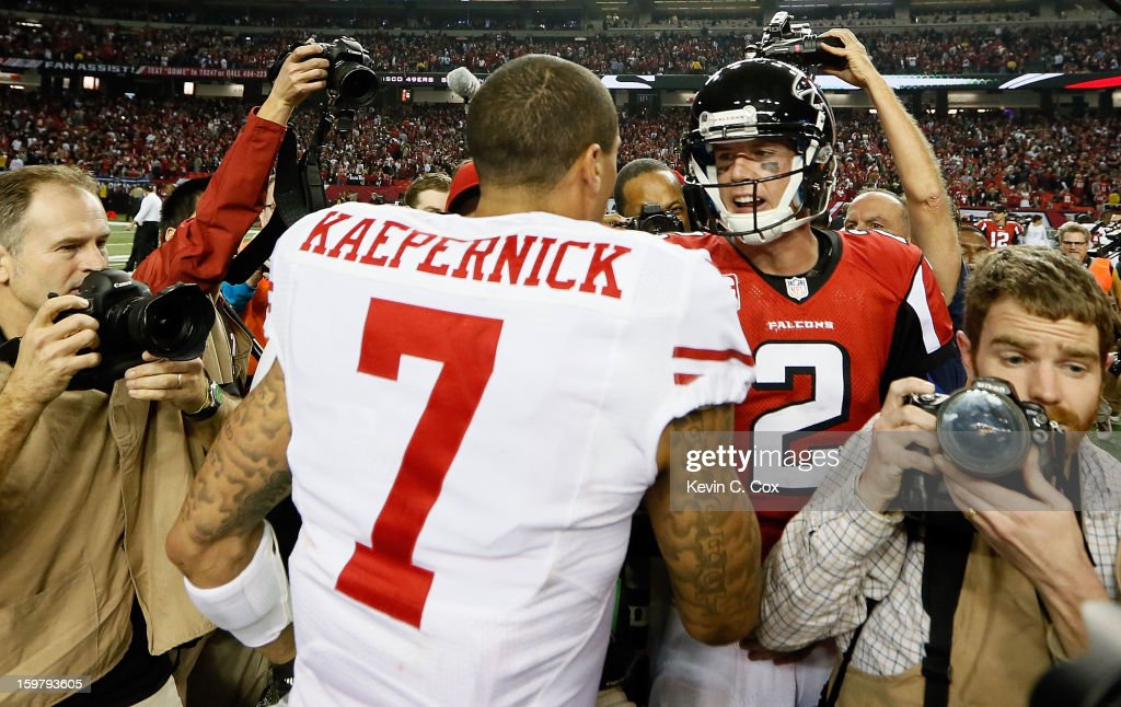 Matt Ryan (R) #2 of the Atlanta Falcons congratulates <a gi-track='captionPersonalityLinkClicked' href=/galleries/search?phrase=Colin+Kaepernick&family=editorial&specificpeople=5525694 ng-click='$event.stopPropagation()'>Colin Kaepernick</a> #7 of the San Francisco 49ers after the 49ers won 28-24 in the NFC Championship game at the Georgia Dome on January 20, 2013 in Atlanta, Georgia.