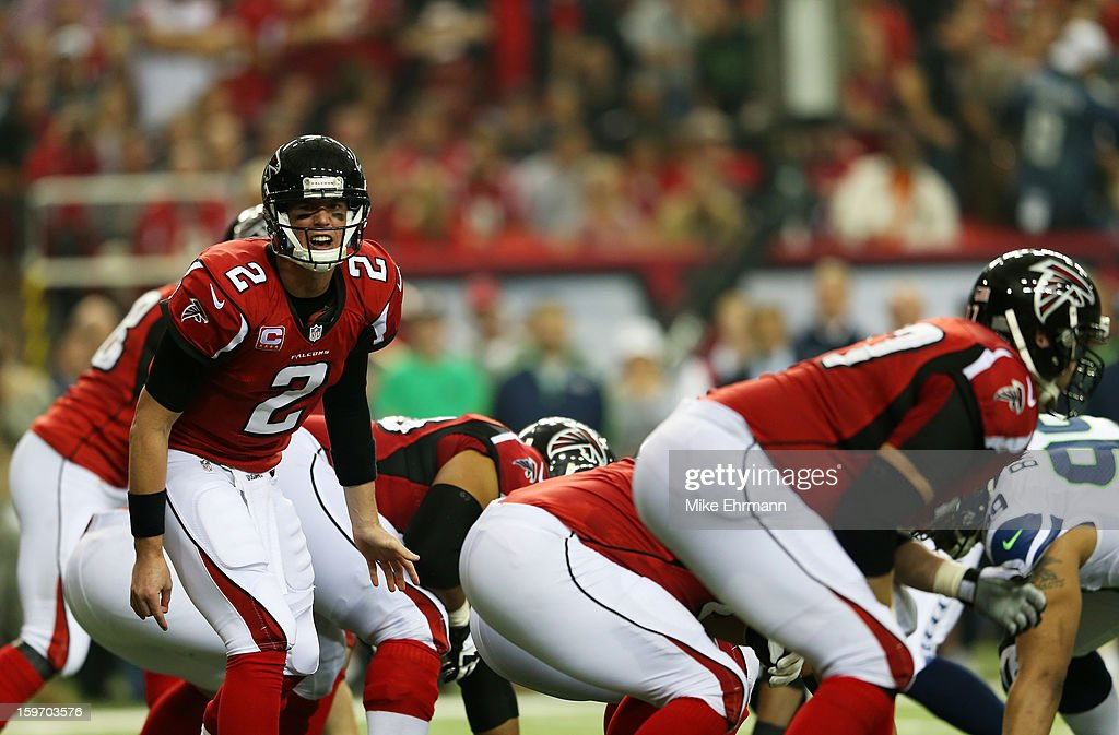 Matt Ryan #2 of the Atlanta Falcons calls a play against the Seattle Seahawks during the NFC Divisional Playoff Game at Georgia Dome on January 13, 2013 in Atlanta, Georgia.