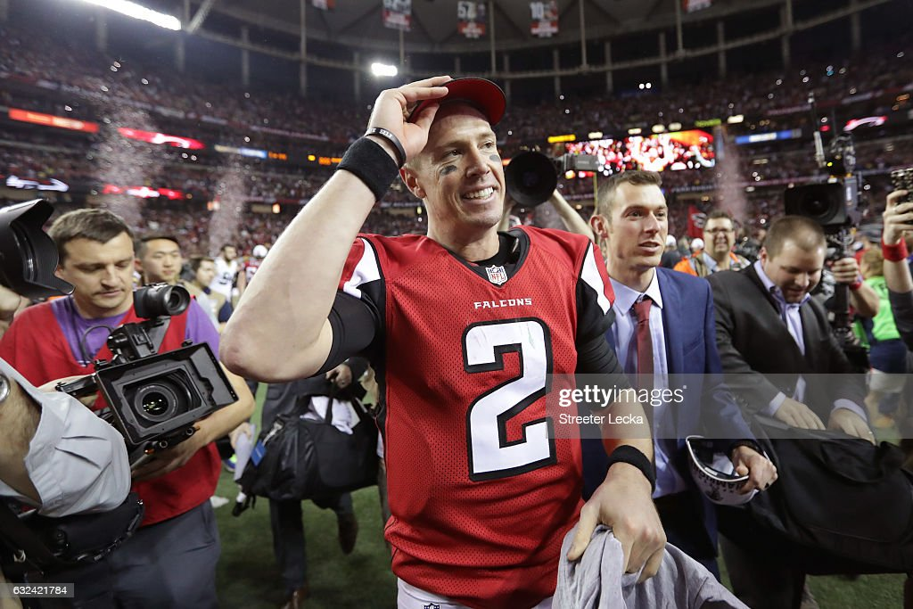 Matt Ryan #2 of the Atlanta Falcons celebrates after defeating the Green Bay Packers in the NFC Championship Game at the Georgia Dome on January 22, 2017 in Atlanta, Georgia. The Falcons defeated the Packers 44-21.