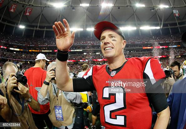 Matt Ryan of the Atlanta Falcons celebrates after defeating the Green Bay Packers in the NFC Championship Game at the Georgia Dome on January 22 2017...