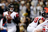 Matt Ryan of the Atlanta Falcons drops back to pass during the first quarter of a game against the New Orleans Saints at the MercedesBenz Superdome...