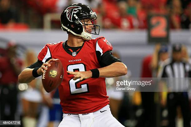 Matt Ryan of the Atlanta Falcons drops back to pass in the first half of a preseason game against the Tennessee Titans at the Georgia Dome on August...