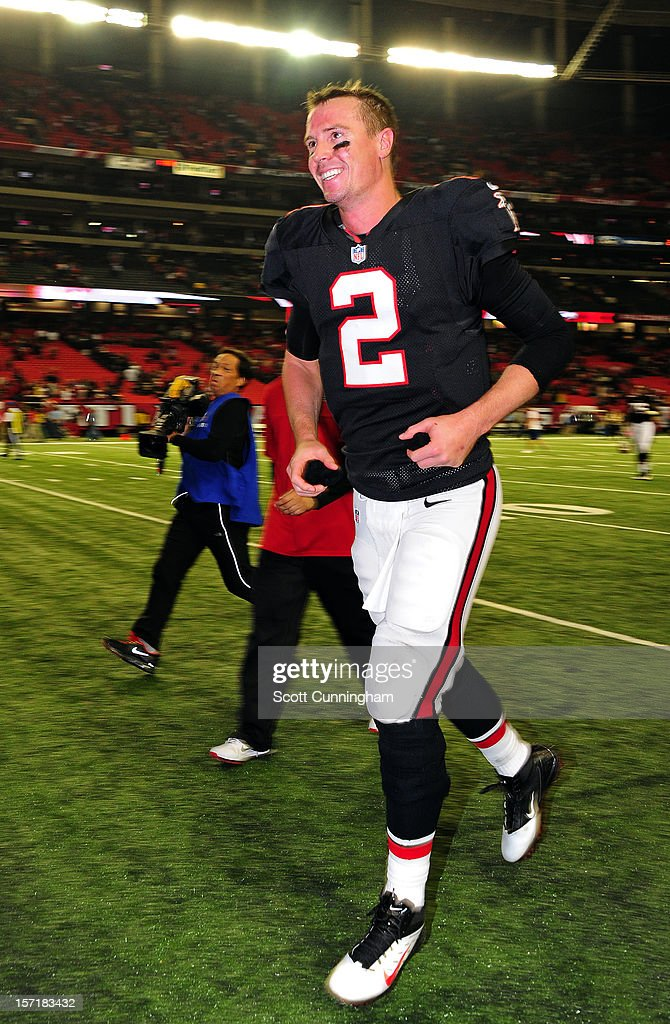 Matt Ryan #2 of the Atlanta Falcons heads off the field after the game against the New Orleans Saints at the Georgia Dome on November 29, 2012 in Atlanta, Georgia