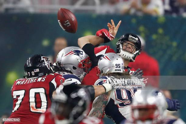 Matt Ryan of the Atlanta Falcons is sacked by Dont'a Hightower of the New England Patriots during Super Bowl 51 at NRG Stadium on February 5 2017 in...