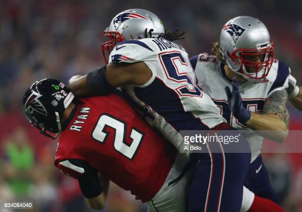 Matt Ryan of the Atlanta Falcons is sacked by Dont'a Hightower of the New England Patriots during the fourth Quarter of Super Bowl 51 at NRG Stadium...