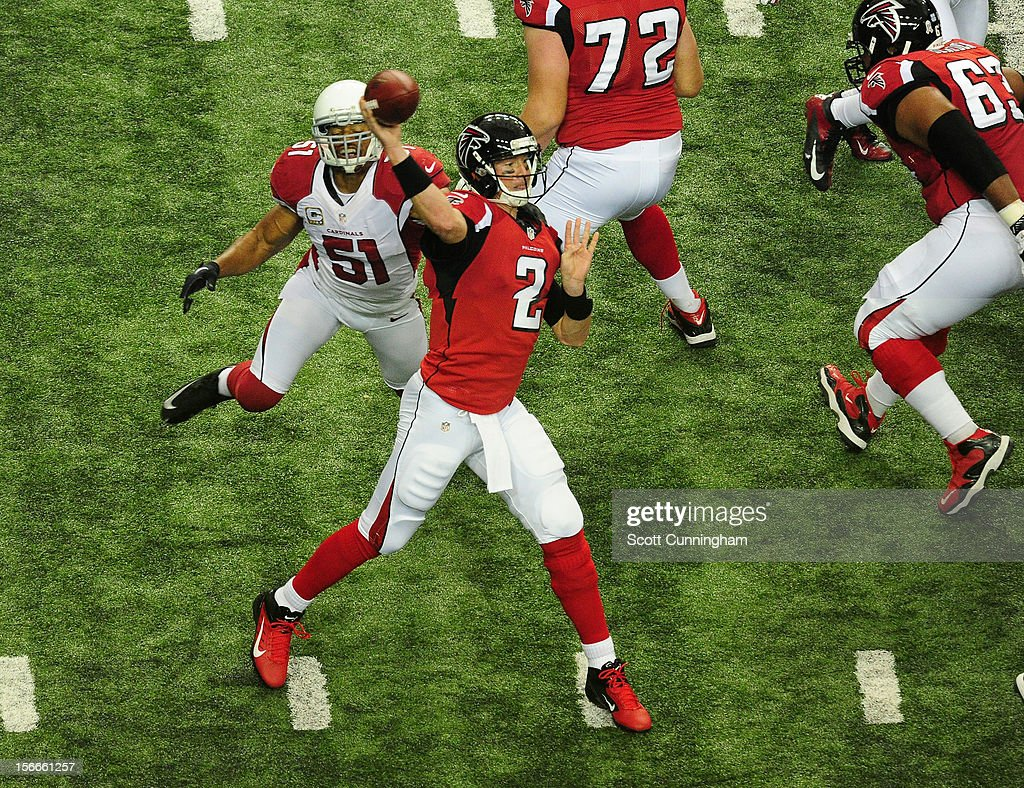 Matt Ryan #2 of the Atlanta Falcons passes against the Arizona Cardinals at the Georgia Dome on November 18, 2012 in Atlanta, Georgia