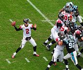 Matt Ryan of the Atlanta Falcons passes against the Carolina Panthers at Bank Of America Stadium on November 16 2014 in Charlotte North Carolina