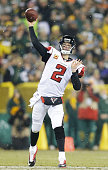 Matt Ryan of the Atlanta Falcons passes against the Green Bay Packers in the second quarter at Lambeau Field on December 8 2014 in Green Bay Wisconsin