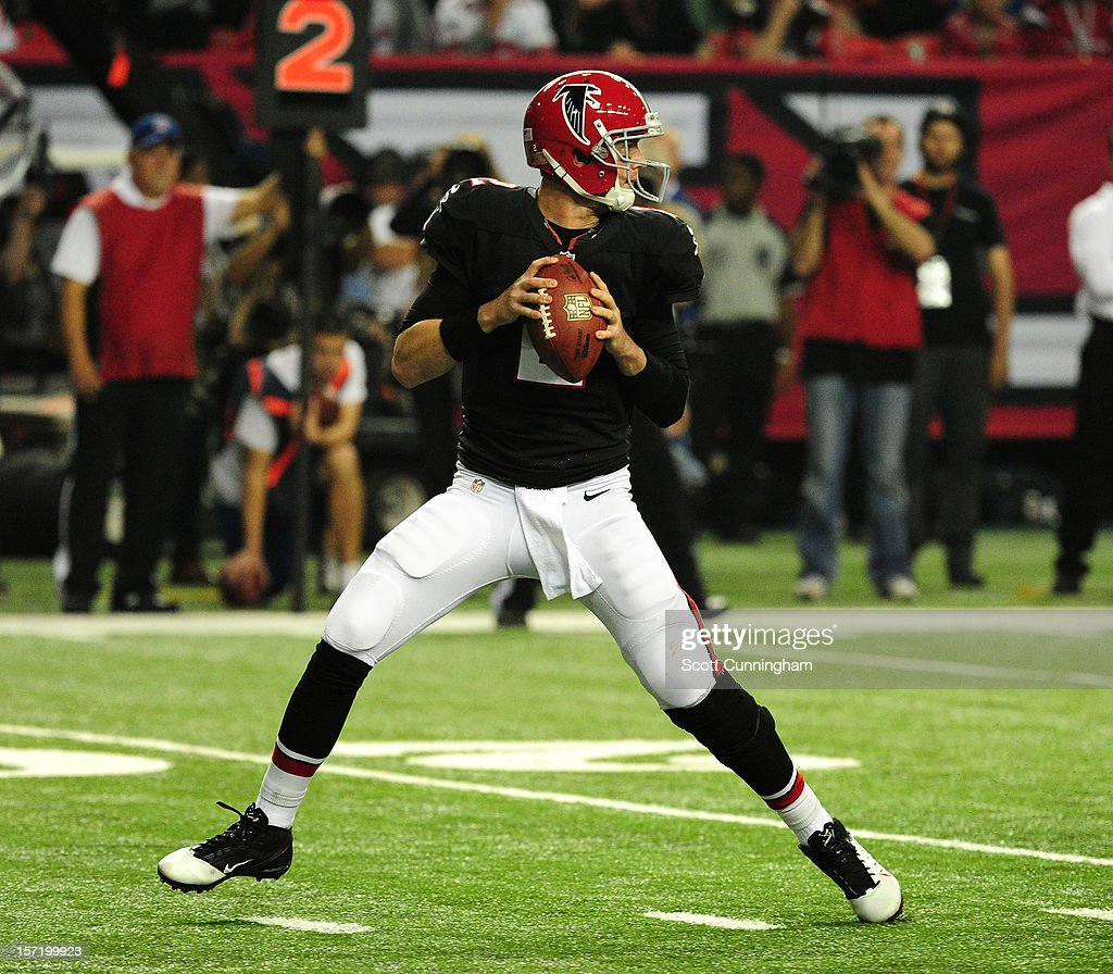 Matt Ryan #2 of the Atlanta Falcons passes against the New Orleans Saints at the Georgia Dome on November 29, 2012 in Atlanta, Georgia