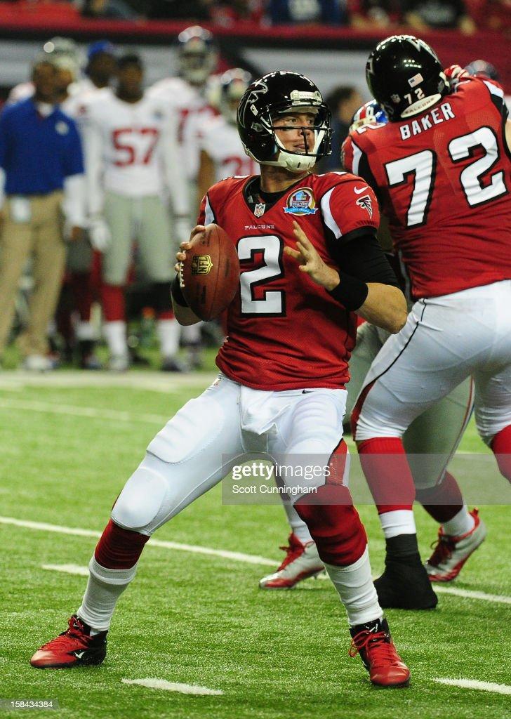 Matt Ryan #2 of the Atlanta Falcons passes against the New York Giants at the Georgia Dome on December 16, 2012 in Atlanta, Georgia