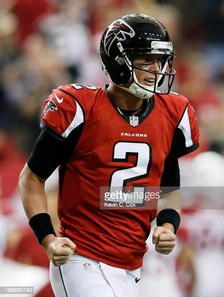 Matt Ryan of the Atlanta Falcons reacts after a touchdown against the Arizona Cardinals at Georgia Dome on November 18 2012 in Atlanta Georgia