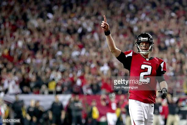 Matt Ryan of the Atlanta Falcons reacts after a touchdown in the fourth quarter against the Green Bay Packers in the NFC Championship Game at the...