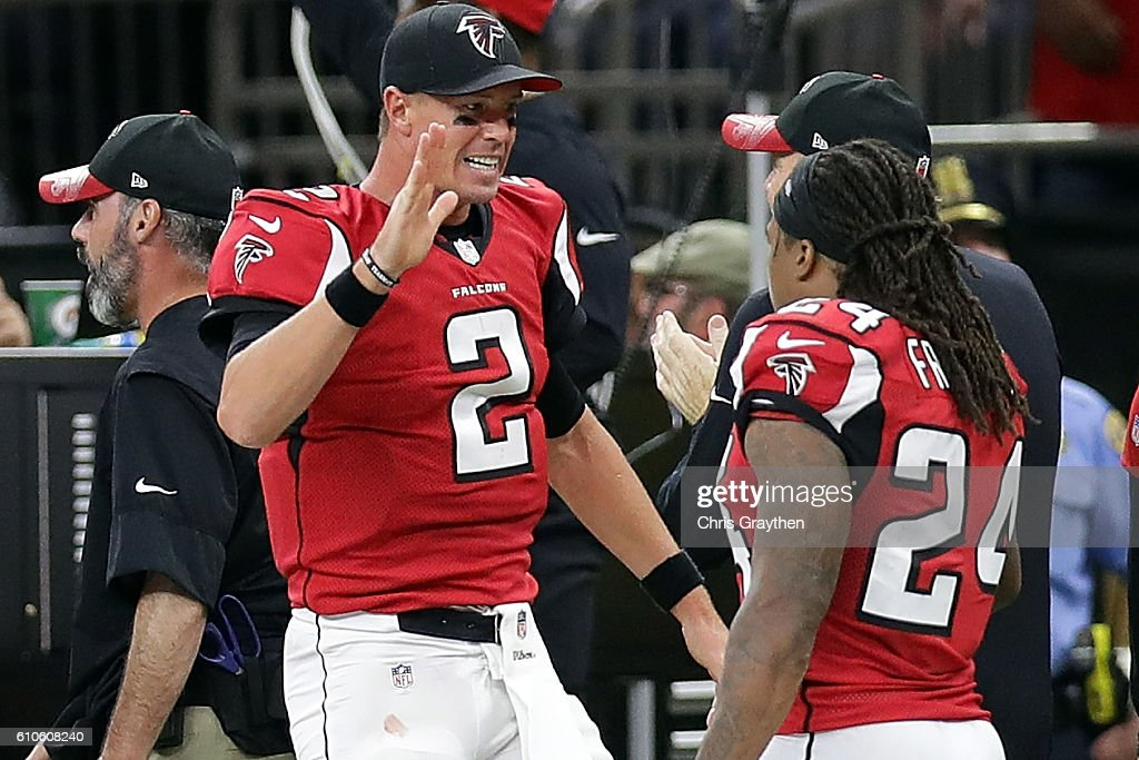 Matt Ryan #2 of the Atlanta Falcons reacts after an interception against the New Orleans Saints at the Mercedes-Benz Superdome on September 26, 2016 in New Orleans, Louisiana.