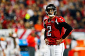 Matt Ryan of the Atlanta Falcons reacts to a play during the second half against the Tampa Bay Buccaneers at the Georgia Dome on November 1 2015 in...