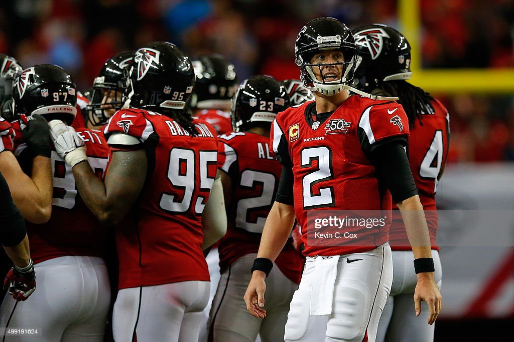 Matt Ryan #2 of the Atlanta Falcons reacts to a play during the second half against the Minnesota Vikings at the Georgia Dome on November 29, 2015 in Atlanta, Georgia.