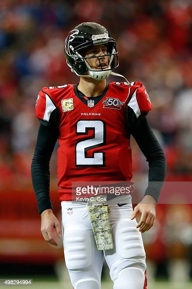 Matt Ryan of the Atlanta Falcons reacts to throwing an interception during the first half against the Indianapolis Colts at the Georgia Dome on...