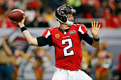 Matt Ryan of the Atlanta Falcons throws a pass during the first half against the New Orleans Saints at the Georgia Dome on January 3 2016 in Atlanta...