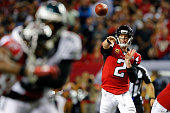 Matt Ryan of the Atlanta Falcons throws a pass during the second half against the Philadelphia Eagles at the Georgia Dome on September 14 2015 in...
