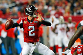 Matt Ryan of the Atlanta Falcons throws a pass during the second half against the Tampa Bay Buccaneers at the Georgia Dome on November 1 2015 in...