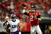 Matt Ryan of the Atlanta Falcons throws a pass during the second half against the Minnesota Vikings at the Georgia Dome on November 29 2015 in...