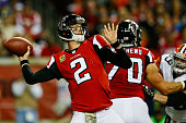 Matt Ryan of the Atlanta Falcons throws a pass in the first half against the Cleveland Browns at Georgia Dome on November 23 2014 in Atlanta Georgia