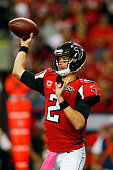 Matt Ryan of the Atlanta Falcons throws a pass in the first half against the Houston Texans at the Georgia Dome on October 4 2015 in Atlanta Georgia