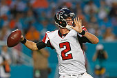 Matt Ryan of the Atlanta Falcons throws the ball against the Miami Dolphins during a preseason game on August 29 2015 at Sun Life Stadium in Miami...