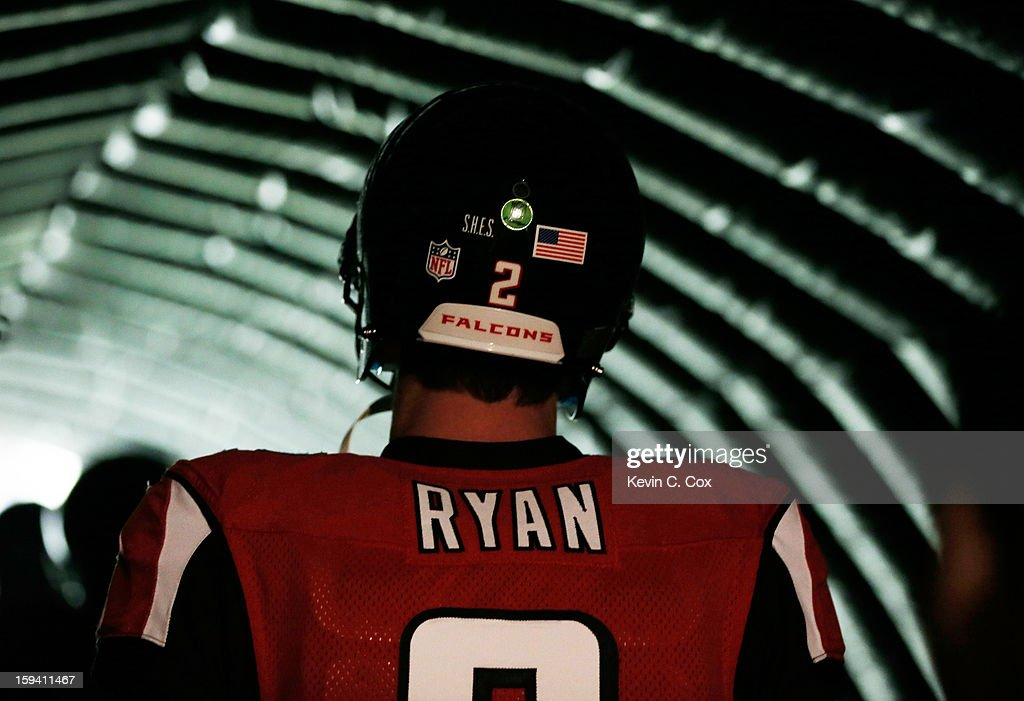 Matt Ryan #2 of the Atlanta Falcons waits in the tunnel prior to the start of the NFC Divisional Playoff Game against the Seattle Seahawks at Georgia Dome on January 13, 2013 in Atlanta, Georgia.