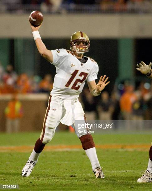 Matt Ryan of the Boston College Eagles drops back to pass against the Clemson Tigers at Memorial Stadium November 17 2007 in Clemson South Carolina...