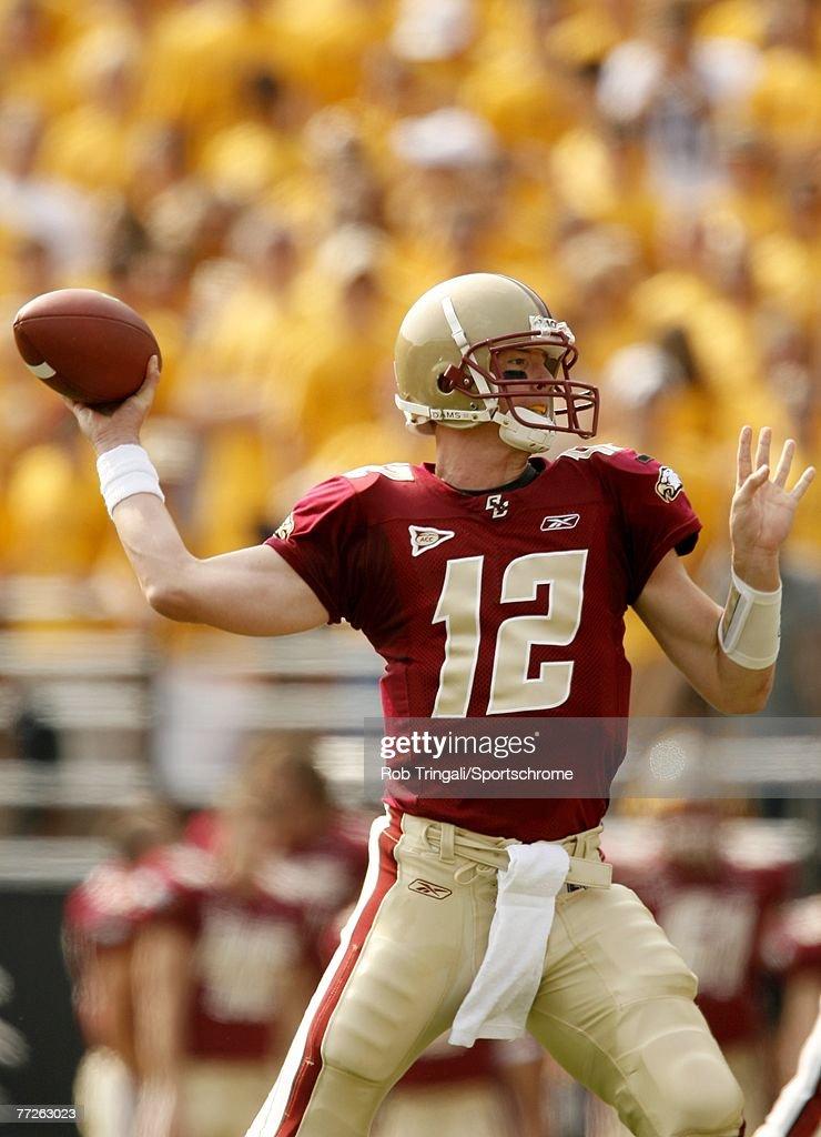 Matt Ryan of the Boston College Eagles passes against the Bowling Green Falcons on October 6 2007 at Alumni Stadium in Chestnut Hill Massachusetts...