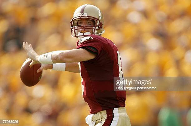 Matt Ryan of the Boston College Eagles passes against the Bowling Green Falcons on October 6 2007 at Alumni Stadium in Chestnut Hill Massachusetts...