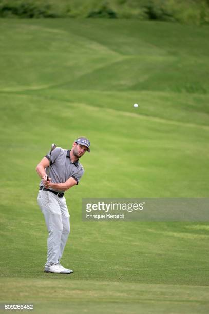 Matt Ryan of the United States chips up to the 17th green during the final round of the PGA TOUR Latinoamerica BMW Jamaica Classic at Cinnamon Hill...
