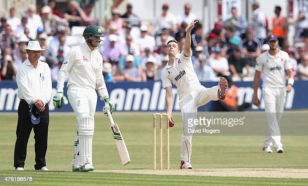 Matt Salisbiury of Essex bowls during day two of the tour match between Essex and Australia at The Ford County Ground on July 2 2015 in Chelmsford...