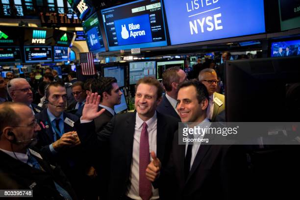 Matt Salzberg cofounder and chief executive officer of Blue Apron Holdings Inc center and Matthew Wadiak cofounder and chief operating officer of...
