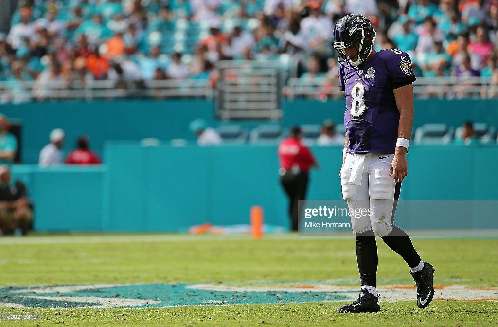 <a gi-track='captionPersonalityLinkClicked' href=/galleries/search?phrase=Matt+Schaub&family=editorial&specificpeople=2210847 ng-click='$event.stopPropagation()'>Matt Schaub</a> #8 of the Baltimore Ravens looks on during a game against the Miami Dolphins at Sun Life Stadium on December 6, 2015 in Miami Gardens, Florida.