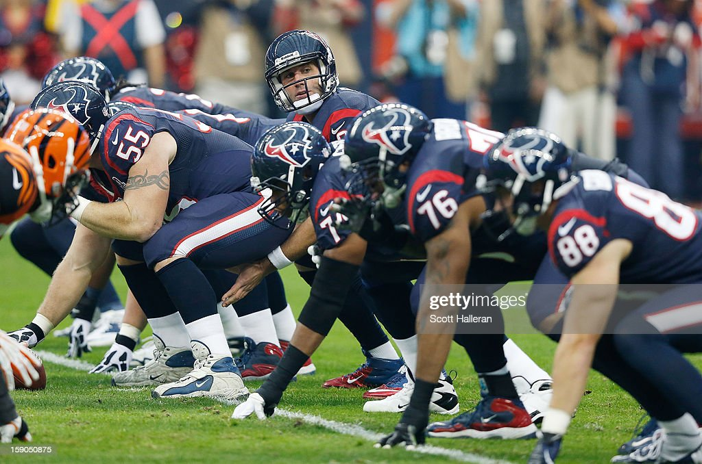 <a gi-track='captionPersonalityLinkClicked' href=/galleries/search?phrase=Matt+Schaub&family=editorial&specificpeople=2210847 ng-click='$event.stopPropagation()'>Matt Schaub</a> #8 of the Houston Texans calls a play against the Cincinnati Bengals during their AFC Wild Card Playoff Game at Reliant Stadium on January 5, 2013 in Houston, Texas.