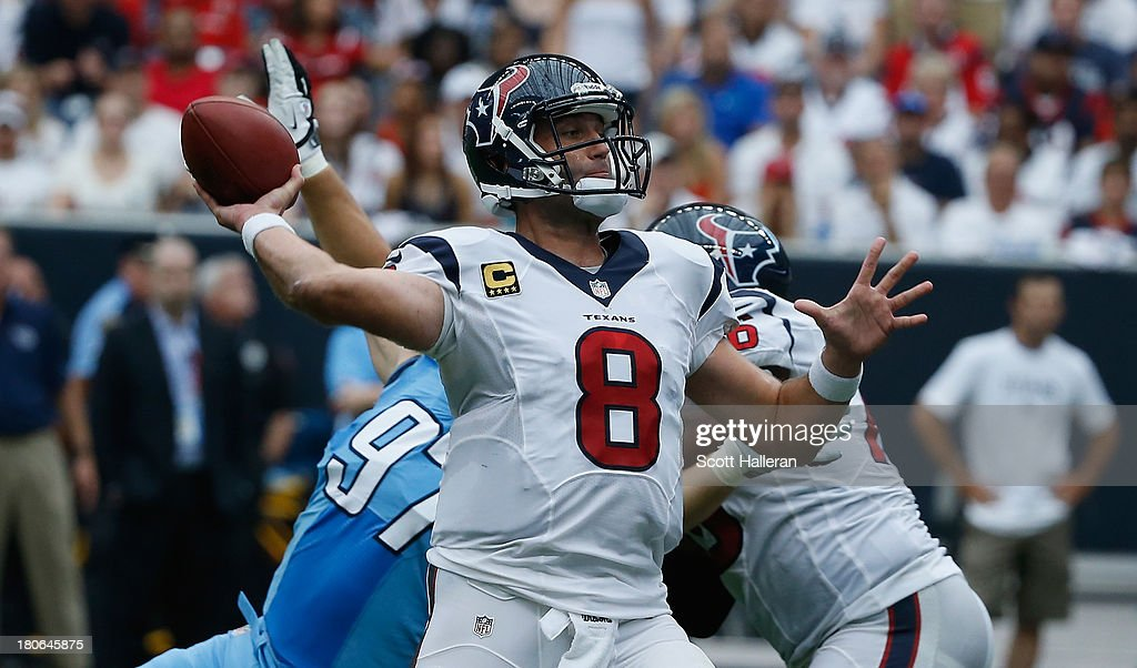 <a gi-track='captionPersonalityLinkClicked' href=/galleries/search?phrase=Matt+Schaub&family=editorial&specificpeople=2210847 ng-click='$event.stopPropagation()'>Matt Schaub</a> #8 of the Houston Texans drops back to pass in the second half against the Tennessee Titans at Reliant Stadium on September 15, 2013 in Houston, Texas.