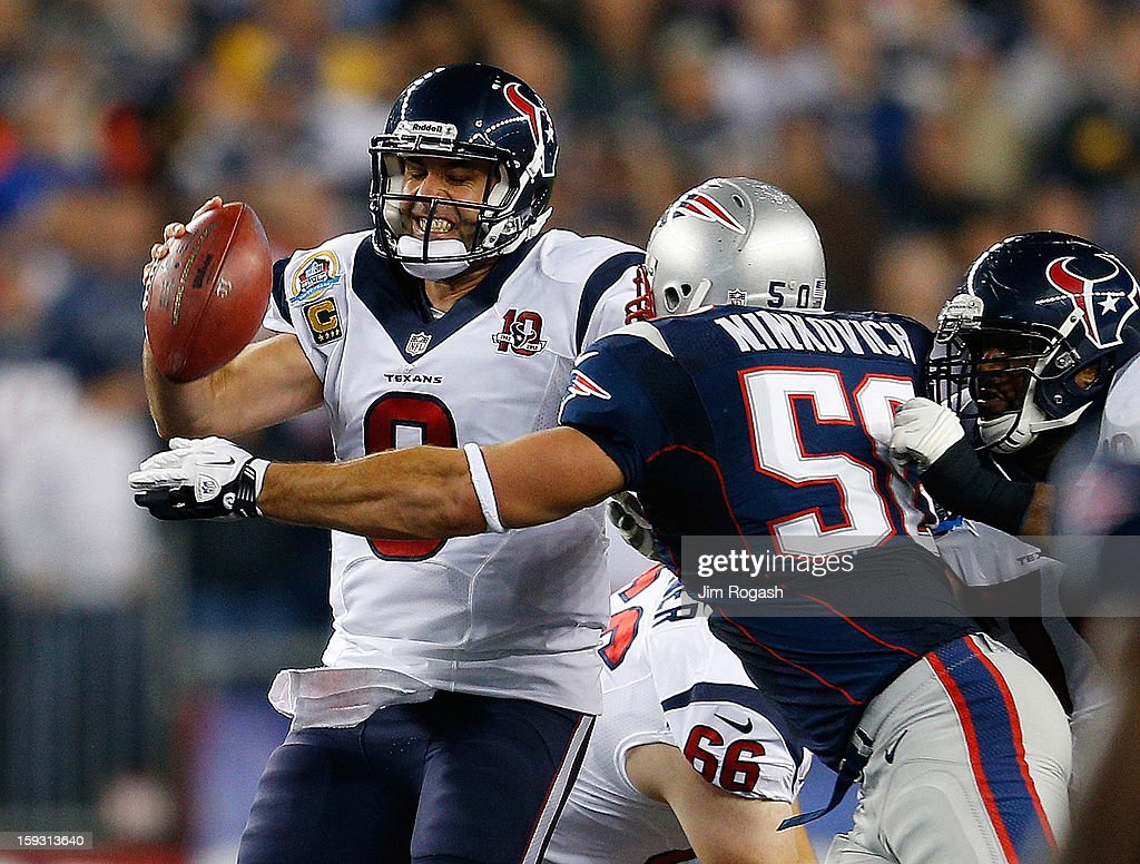 Matt Schaub of the Houston Texans is sacked by Rob Ninkovich of the New England Patriots at Gillette Stadium on December 10 2012 in Foxboro...