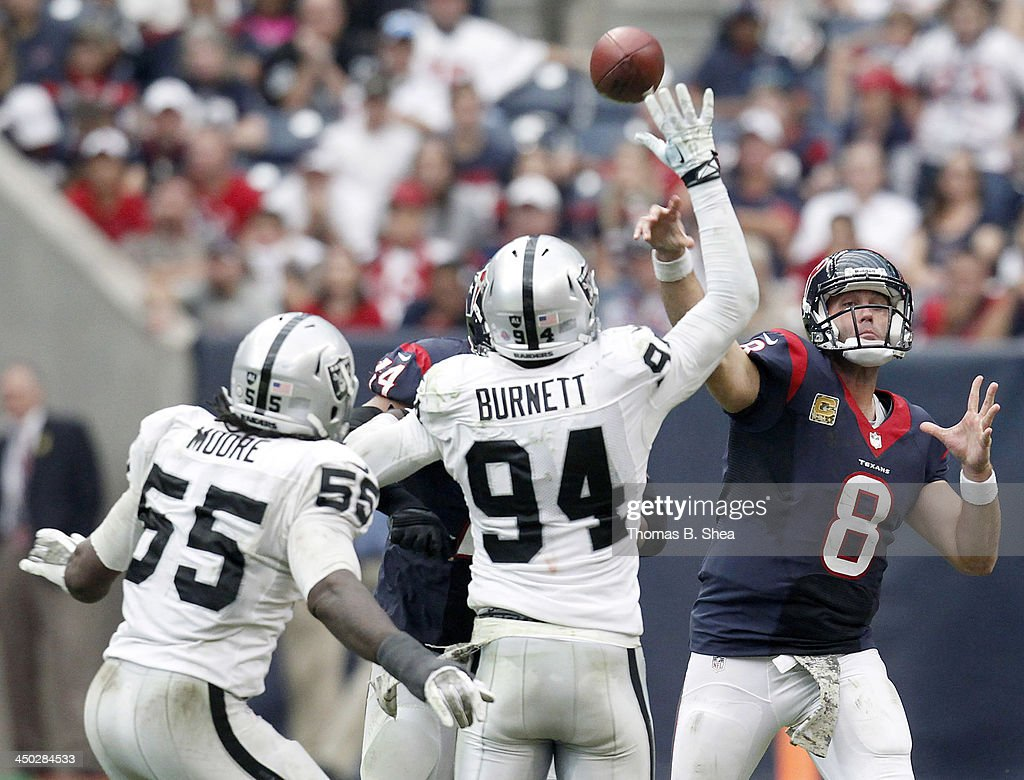 Matt Schaub #8 of the Houston Texans passes against the Oakland Raiders on November 17, 2013 at Reliant Stadium in Houston, Texas. Raiders won 28 to 23.