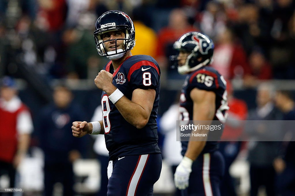 Matt Schaub #8 of the Houston Texans reacts against the Cincinnati Bengals during their AFC Wild Card Playoff Game at Reliant Stadium on January 5, 2013 in Houston, Texas.
