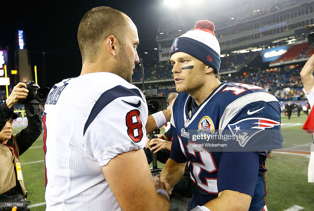 Matt Schaub #8 of the Houston Texans shakes hands with Tom Brady #12 of the New England Patriots following the game at Gillette Stadium on December 10, 2012 in Foxboro, Massachusetts.