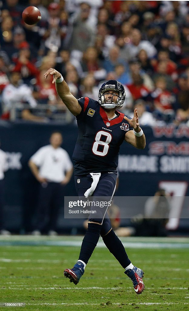 Matt Schaub #8 of the Houston Texans throws a pass against the Cincinnati Bengals during their AFC Wild Card Playoff Game at Reliant Stadium on January 5, 2013 in Houston, Texas.
