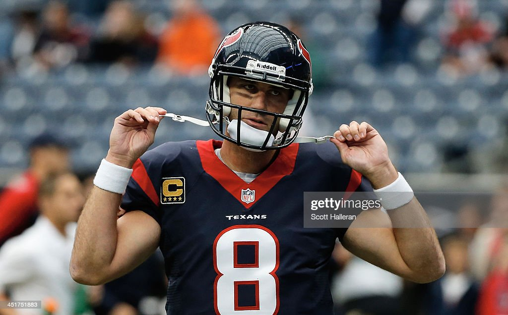 <a gi-track='captionPersonalityLinkClicked' href=/galleries/search?phrase=Matt+Schaub&family=editorial&specificpeople=2210847 ng-click='$event.stopPropagation()'>Matt Schaub</a> #8 of the Houston Texans waits on the field before the game against the Jacksonville Jaguars at Reliant Stadium on November 24, 2013 in Houston, Texas.
