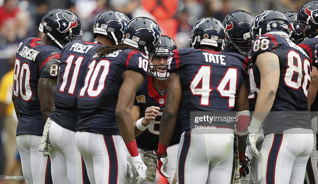 <a gi-track='captionPersonalityLinkClicked' href=/galleries/search?phrase=Matt+Schaub&family=editorial&specificpeople=2210847 ng-click='$event.stopPropagation()'>Matt Schaub</a> #8 of the Houston Texans yells out a play for his offense against the Oakland Raiders at Reliant Stadium on November 17, 2013 in Houston, Texas.